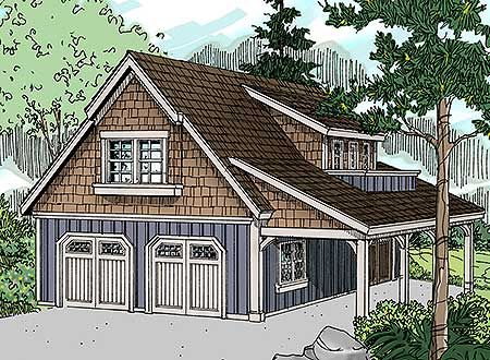Craftsman Garage with Living Area and Shop - 72816DA | Carriage, Craftsman, 2nd Floor Master Suite, CAD Available, Den-Office-Library-Study, PDF | Architectural Designs