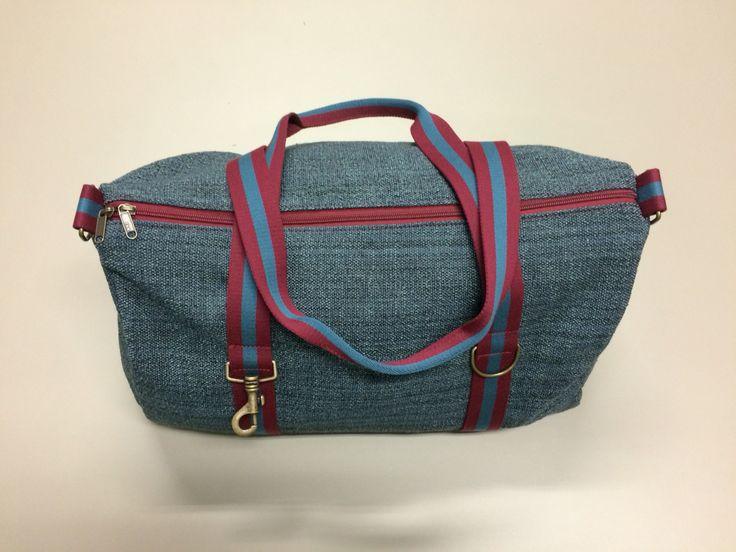 mod.17 - light blue mélange bag - burgundy/light blue/burgundy stripes