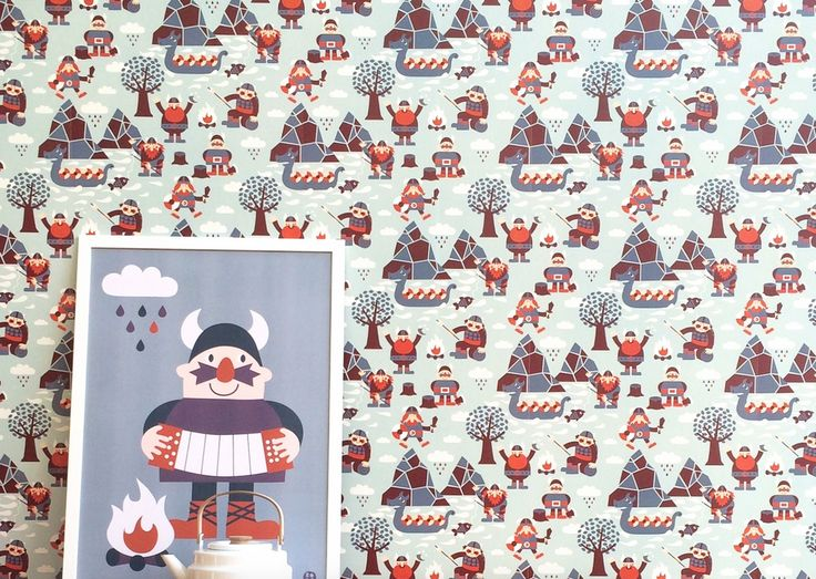 Viking behang Viking wallpaper kids | Bora via Kinderkamerstylist