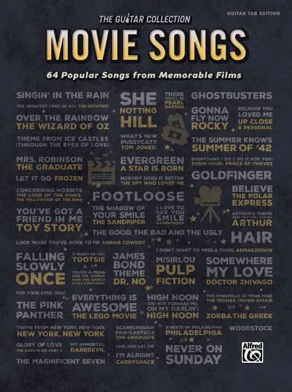 The Guitar Collection: Movie Songs contains 64 songs that immediately evoke the famous films they're taken from, including Gonna Fly Now from Rocky, Everything Is Awesome from The Lego Movie, Ghostbus                                                                                                                                                                                 More