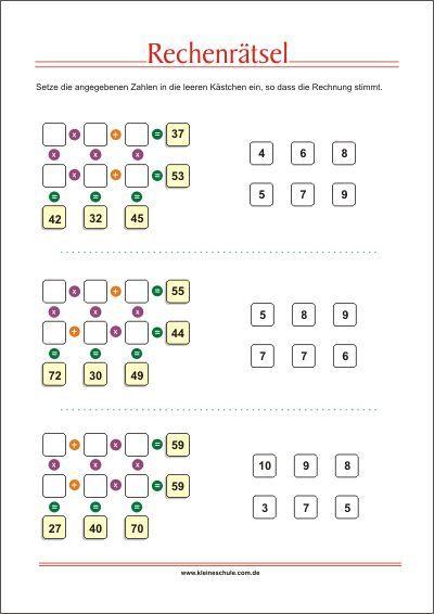 Rechenrätsel - Addieren, Subtrahieren, Multiplizieren und Dividieren ...