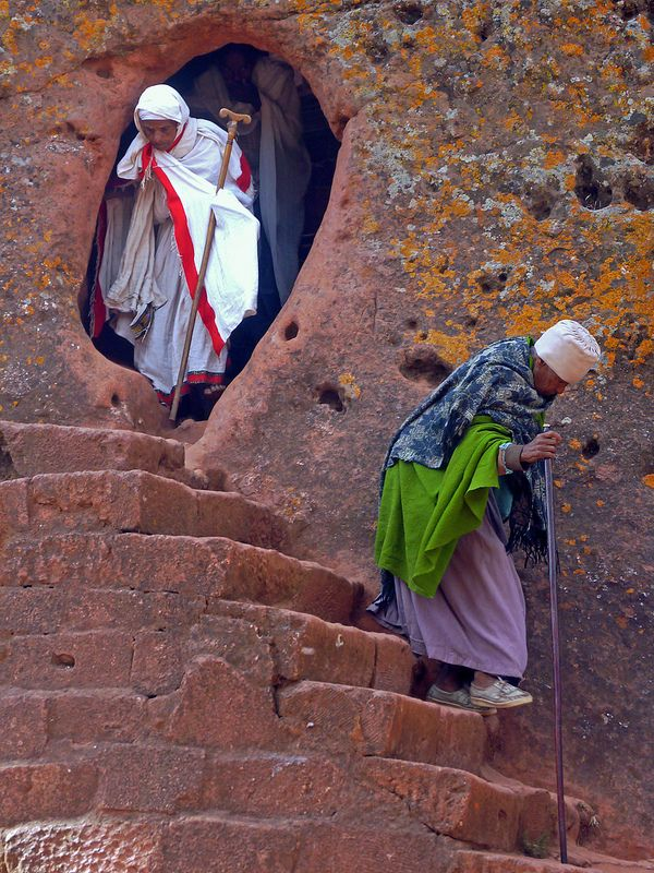 Leaving the Rock Church, Lalibela, Ethiopia