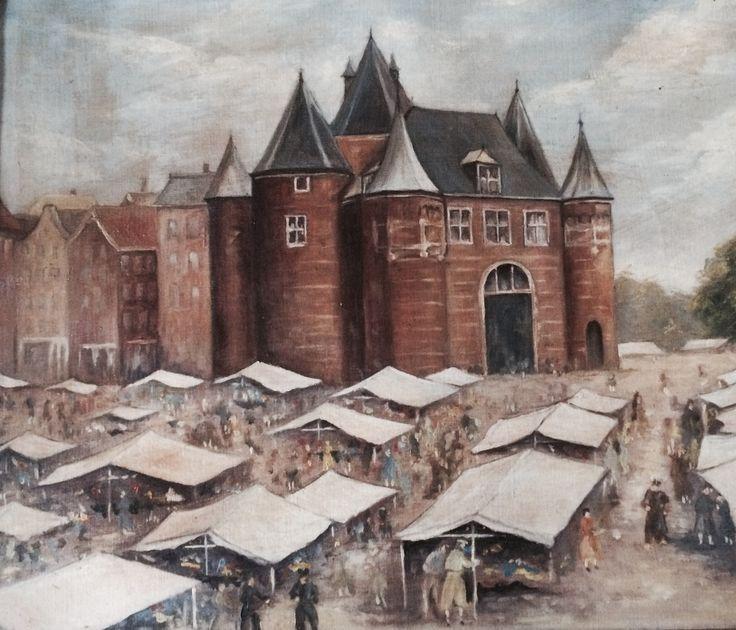 Arthur Koch 1862-1936 'Amsterdam Waaggebouw en markt Waterlooplein' Techniek: olieverf op doek