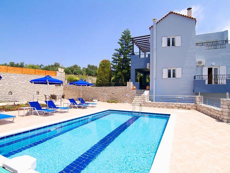 Rethymno villa rental - Building exterior and  pool terrace!