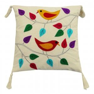 """Leaf & Bird pattern Cushion Cover 40 cm Patchwork Pillow Case Throw 16"""" India"""