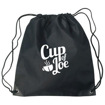 Black Budget Custom Drawstring Bag w/Reinforced Corners