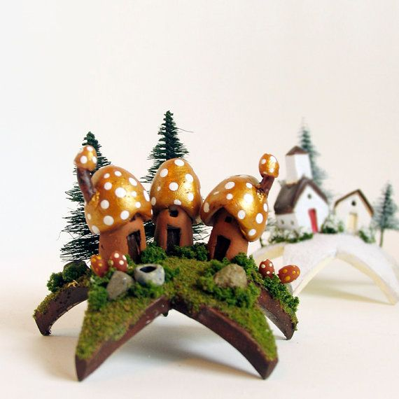 Trio of Woodland Mushroom Fairy Houses Upon a Star - Tiny Gold Capped Houses and Pine Trees by Bewilder and Pine