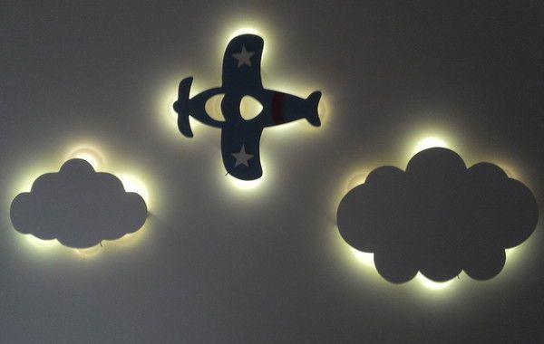 Jogo Nuvem Mais Aviao Com Led Luminaria Com Imagens Arte De