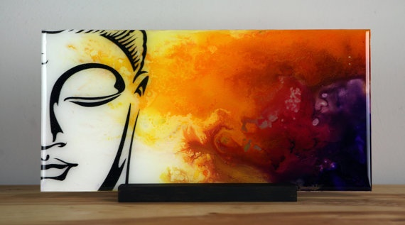 15% Holiday ART SALE. Spiritual Unique Fluid Abstract Painting. Free Shiping.Fine Art on Plexiglass Title - Buddah. By Igor Turovskiy