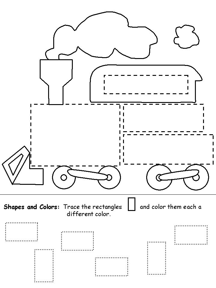Shapes Train For Kids.      Children will have a great time tracing and coloring in all the rectangles on the train!