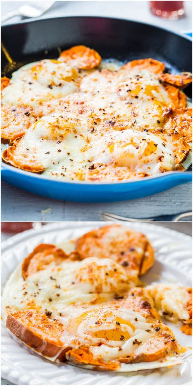 Sweet Potato and Mozzarella Egg Skillet (GF) - Easy, cheesy comfort food that's ready in 15 minutes!