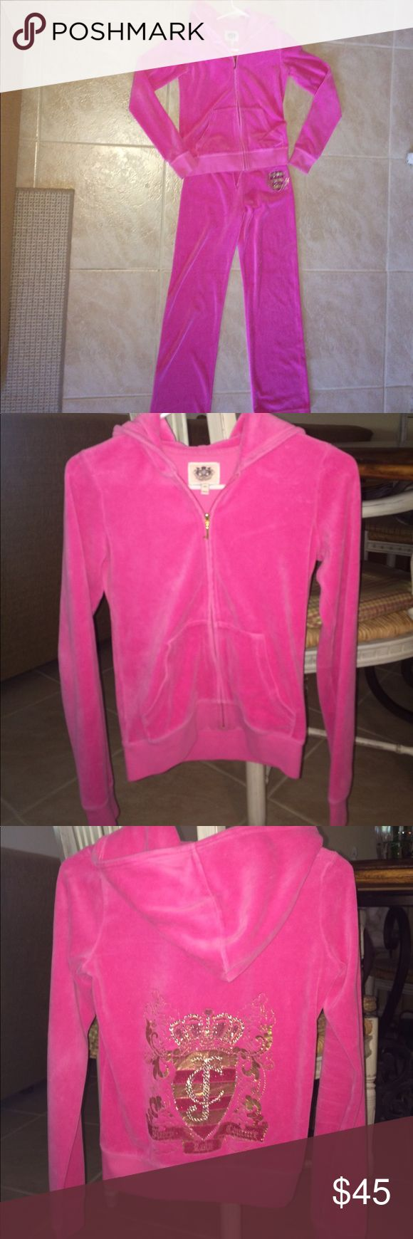 Juicy Couture pink sweatsuit Pink Juicy Couture sweatpants with matching jacket! Size girls extra large. Like new condition! Juicy Couture Matching Sets