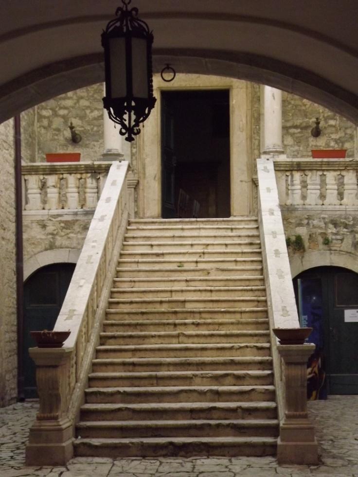 "Castello Pignatelli, Monteroduni ""Scalone Quattrocentesco d'ingresso ai piani nobili"" Molise, Italy. 41°31′00″N 14°10′00″E"