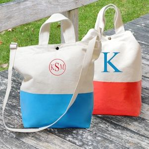 Color Dipped Canvas Totes from Wedding Favors Unlimited - Great Bridesmaid Gifts $29 (Comes in Aqua, Pink, Coral, Grey, Kiwi and Navy)