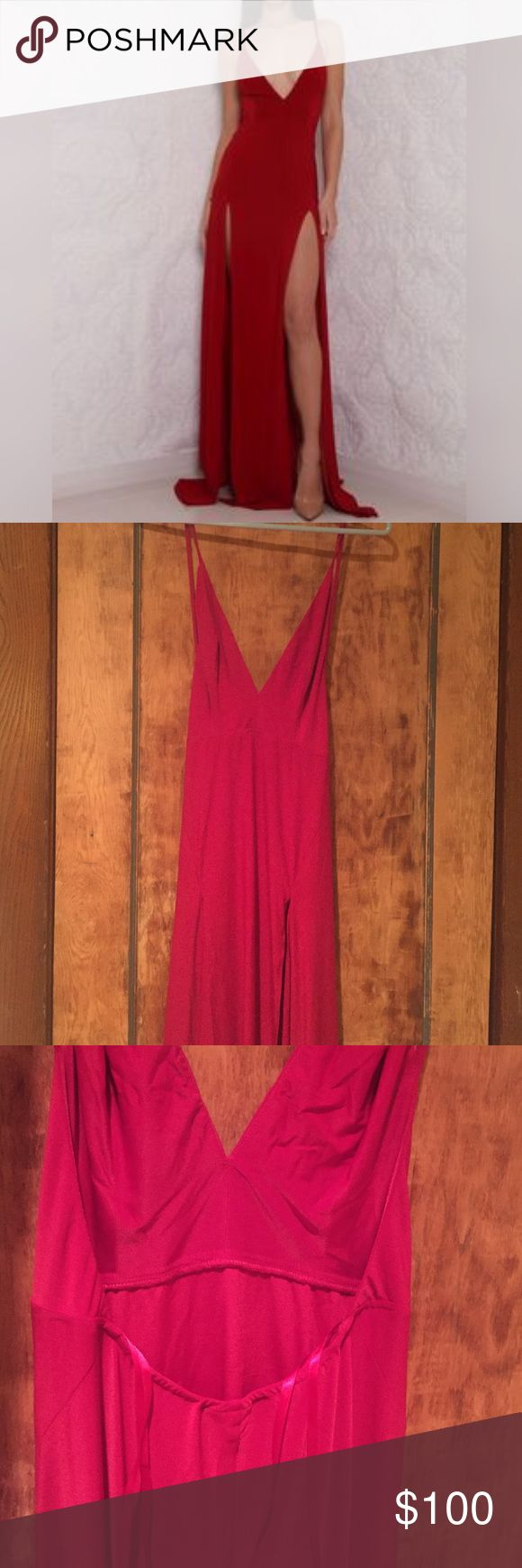 """Authentic Meshki Boutique Red Elle Celine Dress Size XS - Wore once for an event. Very long maxi dress red, leg slits both sides. Sexy! Just no where else to where it too. Super cute :) tag on inside reads """"Abyss"""" - retail wholesalers Meshki purchases from. :) Meshki Boutique Dresses Maxi"""