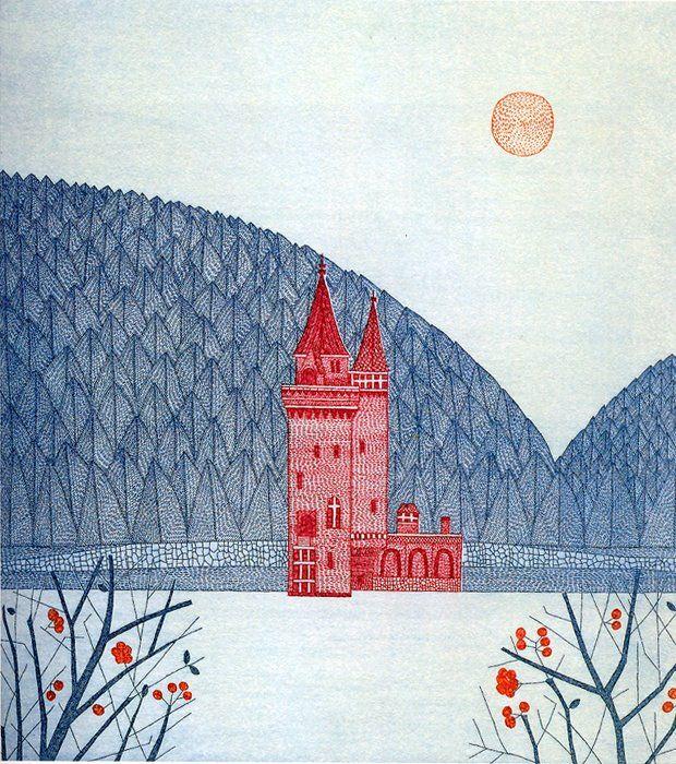 Keiko Minami -  Red Castle etching