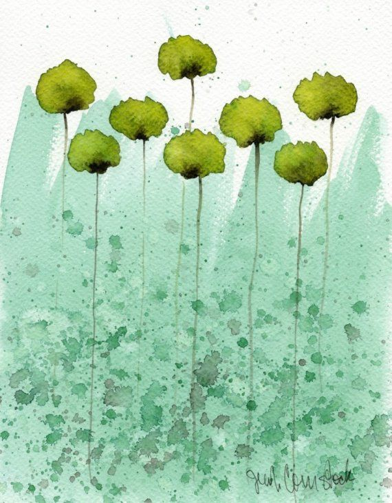 Pretty watercolor: Art Paintings, Watercolor Paintings, Painting Art, Watercolors, Flower Paintings, Green, Watercolor Flower, Watercolour