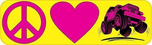 10 x 3 Peace Love Jeep Bumper Sticker Window Stickers Vinyl Decals Car Decal