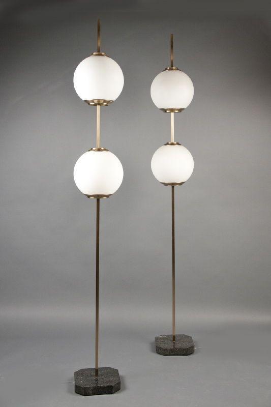 Doppio Pallone floor lamps. Model LTE 10 (ca. 1960) Luigi Caccia Dominioni