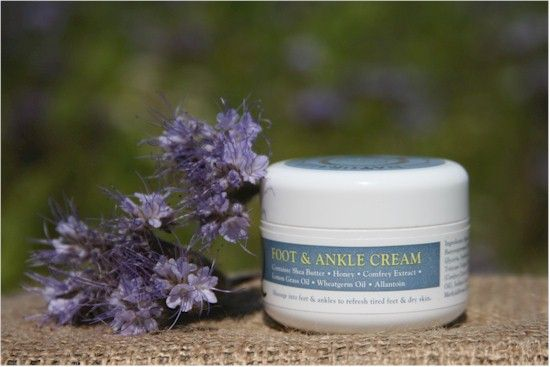 Foot & Ankle Cream - Soar Mill Seeds  A rich and refreshing cream to sooth and soften, containing wheatgerm oil, beeswax and comfrey extract to help revitalise tired feet and ankles. Contains shea butter and honey to smooth and soften hard skin and allantoin for its healing and soothing properties. Fragranced with invigorating lemon grass oil.   Not Tested on animals, Lanolin Free.   100g plastic pot with screw top lid.   Made and packaged England
