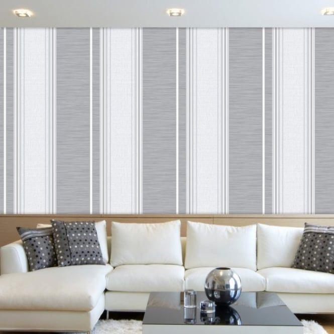 Crown Crown Manhattan Stripe Texture Blown Vinyl Wallpaper Grey (M0888) - Crown from I love wallpaper UK