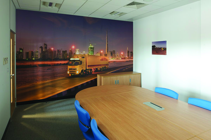 The boardroom at #DHL has a nice feature wall which showcases one of their vehicles distributing parcels.