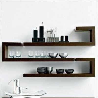 repisa minimalista flotante moderna reiki forma bastón.