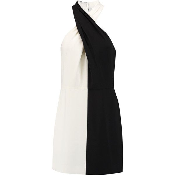 Halston Heritage Two-tone crepe halterneck mini dress ($200) ❤ liked on Polyvore featuring dresses, black, halter-neck dress, two tone dress, short dresses, short halter dress and halston heritage dress