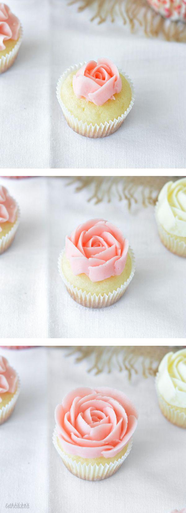 Wedding-themed Rose Cupcakes! bethcakes.com