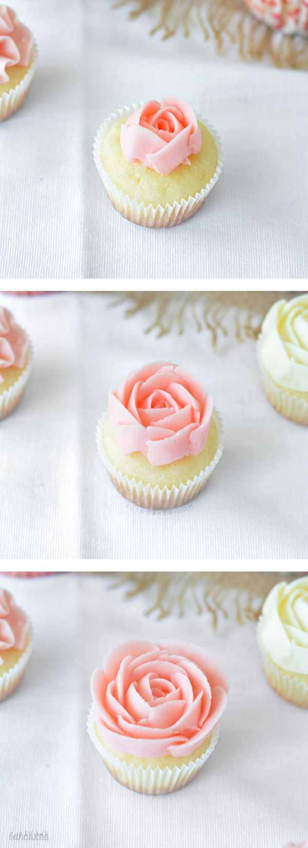 Wedding-themed Rose Cupcakes! bethcakes.com