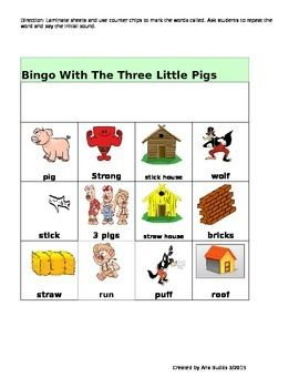 Bingo Game The Three Little Pigs Fairy Tale Vocabulary Dev