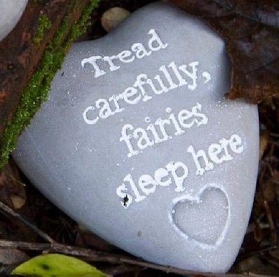 Stone Heart~Fairies Sleep Here Garden Marker~ Plant Pot Ornament~Sass & Belle