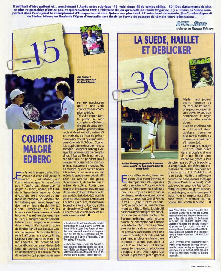 """The section -15 of """"Tennis Magazine"""" in the issue of March 2007 is dedicated to Jim Courier's victory in the 1992 Australian Open final against Stefan Edberg."""