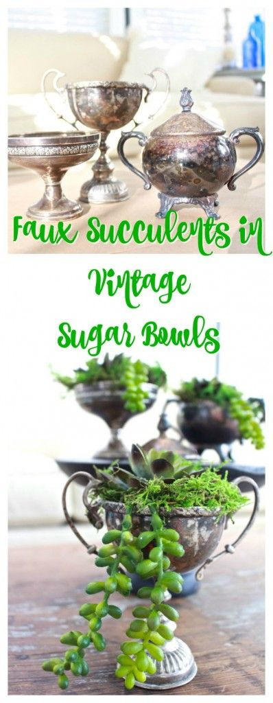 How to Use Vintage Silver Sugar Bowls to Create Faux Succulent Planters - using stones, moss and craft store succulents. This is a great looking display that is very inexpensive to  put together - Two Bees in a Pod