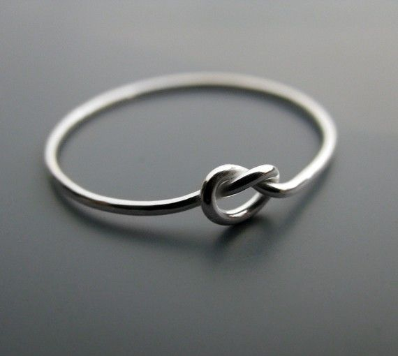 Simple knot ring - thin recycled sterling silver promise ring (20 gauge)