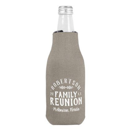 Modern Rustic Personalized Family Reunion Bottle Cooler - personalize gift idea special custom diy or cyo
