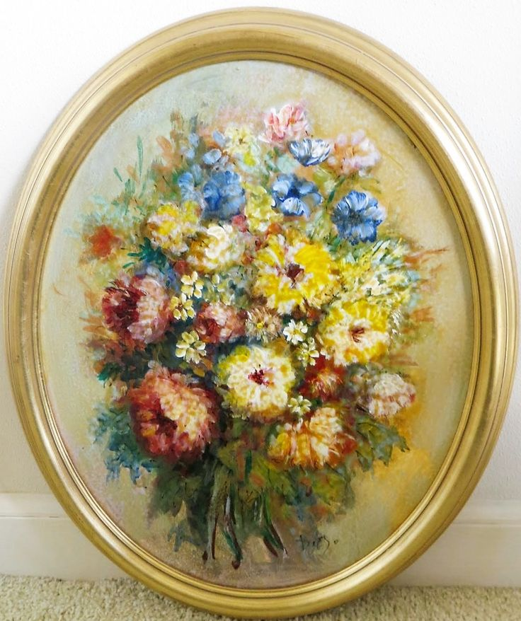 """#DiegoVoci™ - an Oval Glass Painted Bouquet of #Flowers (21x17""""). A rare find for George and his wife, purchased in Christine #Khan's store in Wiesbaden in 1975. 851-315 Number on the back unfortunately does not match one of the tracking systems we have been made aware of. We trust George on this one."""