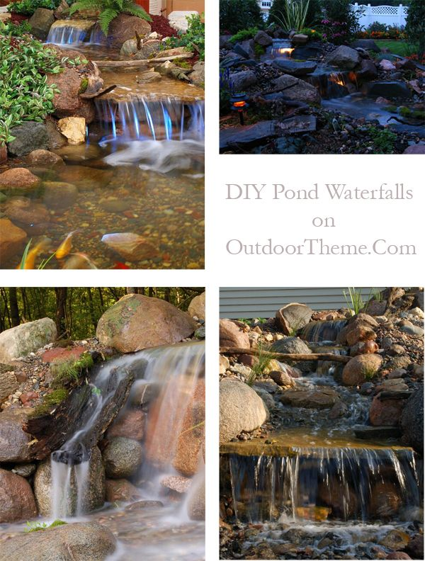 Pin by louise calogero on home idea 39 s pinterest for Pond waterfall construction