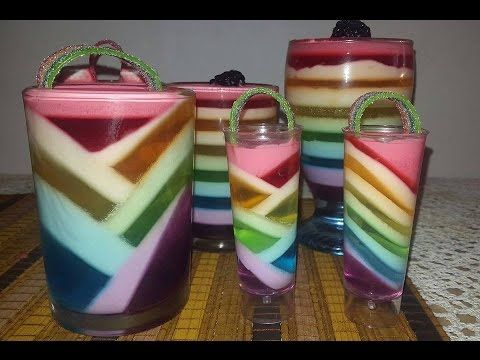 Gelatina arcoiris muy fácil / rainbow jello cups - YouTube