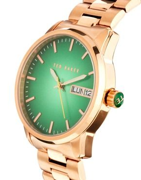 Image 4 ofTed Baker Rose Gold Burst with Large Link Watch