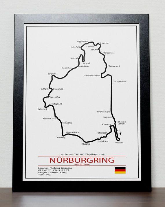 Unique Formula One F1 Nurburgring Grand Prix Track illustration Poster