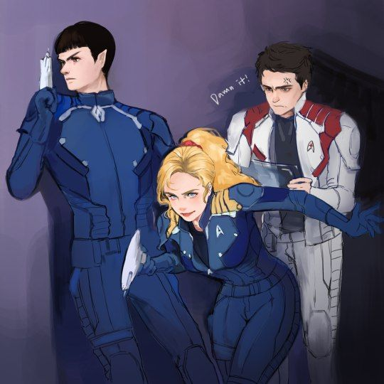 fem!Kirk, McCoy, Spock <<< I don't usually pin this stuff, but wow.