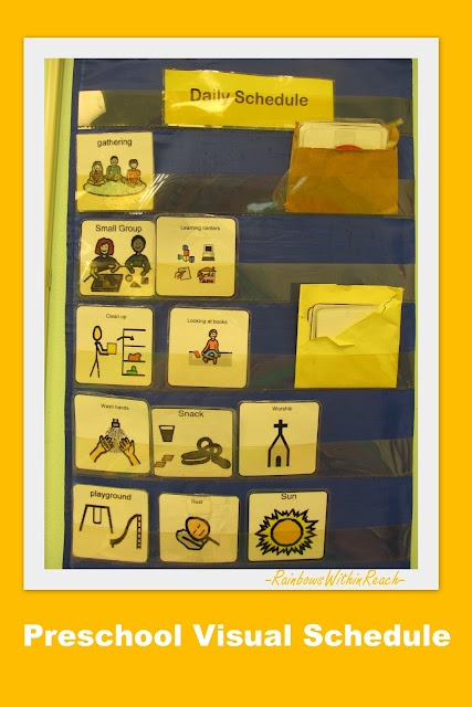 Visual Daily Schedule for Preschool. Three different examples in article.