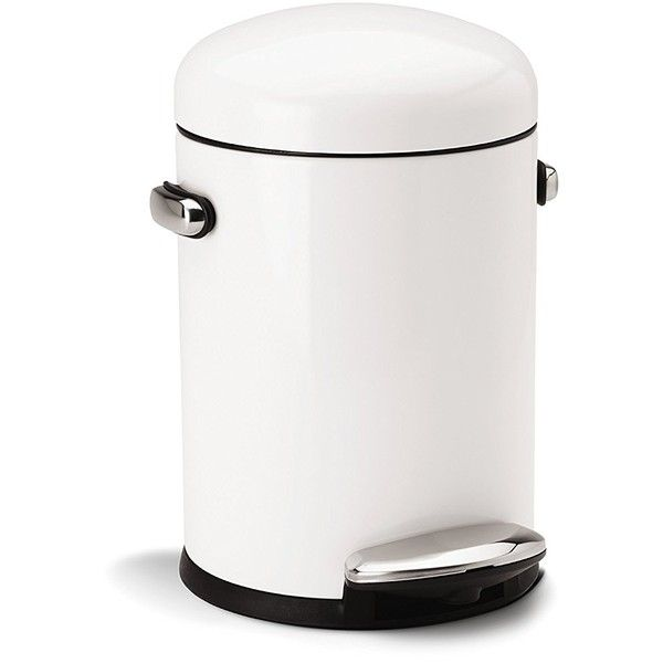 Amazon.com: simplehuman Round Retro Step Trash Can, White Steel, 4.5 L... ($26) ❤ liked on Polyvore featuring home, home decor, small item storage, steel trash bins, steel trash can, white home decor, white trash can and white home accessories