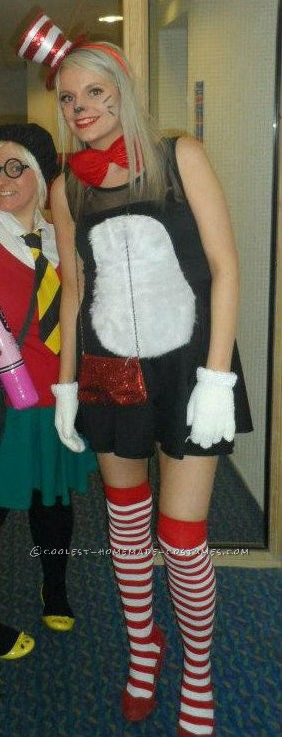 super easy homemade womens cat in the hat costume - Cat In The Hat Halloween Costume Ideas