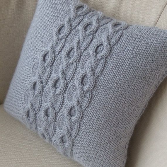 Silver Grey Pure Wool Hand Knitted Pillow / Cushion by Lindyknits, £28.50