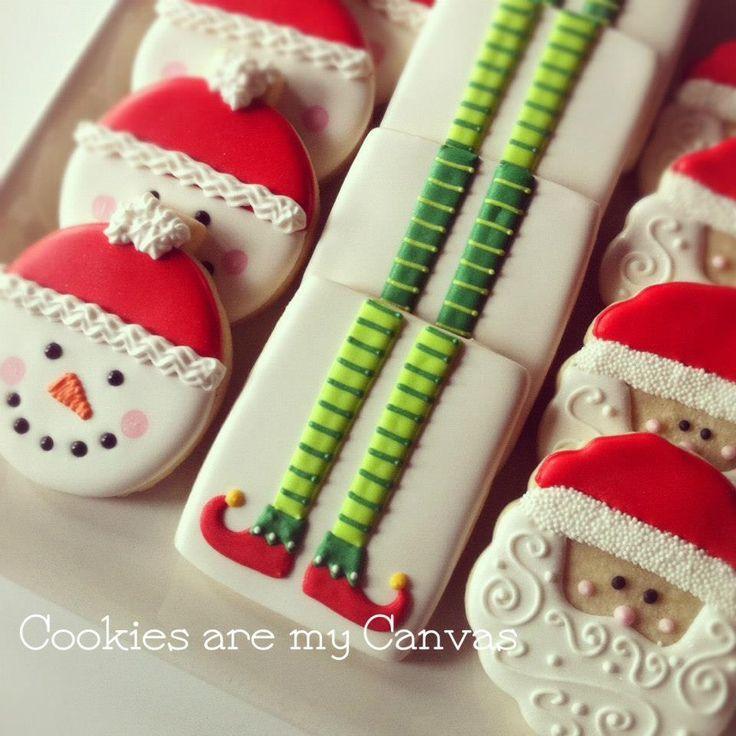 Elf,Snowman,Santa sugar cookies-Image only: [7b2f49917da03ab26eae266aa80995dc.jpg (736×736)]
