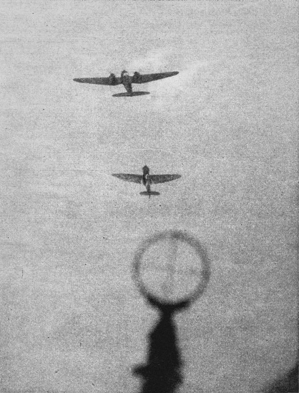 Fourth of a group of pictures taken from a Heinkel He-111 chronicling her dogfight with a Supermarine Spitfire during the Battle of Britain.