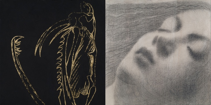 Omar Galliani Contamination I Pencil, black pigment & pure gold on poplar wood 30 x 60 cm  (Diptych) available at 3A The Excellence of Art in Mauritius