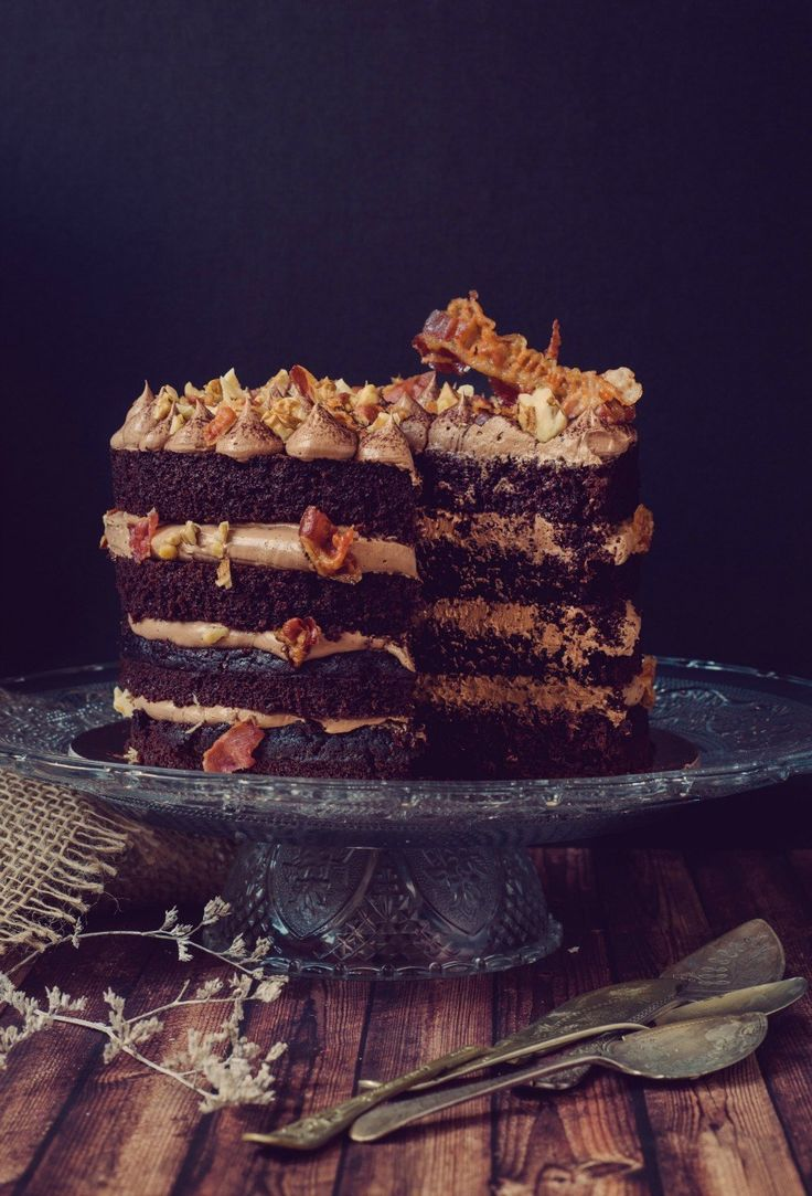 Chocolate Bacon Cake with Chocolate Swiss meringue buttercream